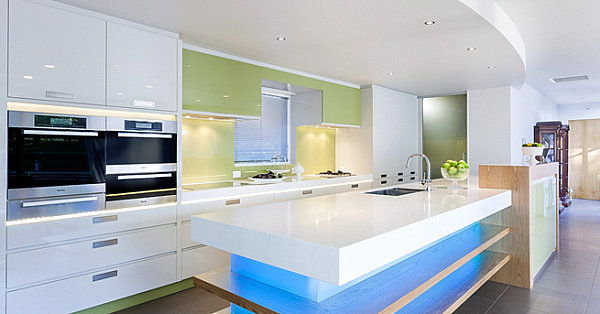 Blue-neon-lighting-in-a-modern-kitchen-Applied-on-White-Kitchen-Island-Design-Ideas-PLan-Unit