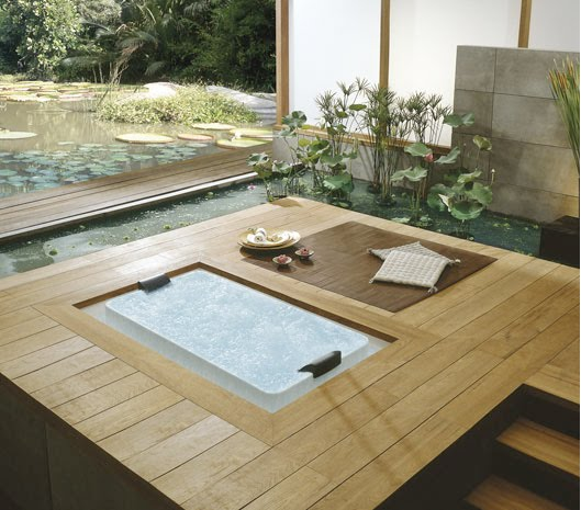 wood and green bathtub